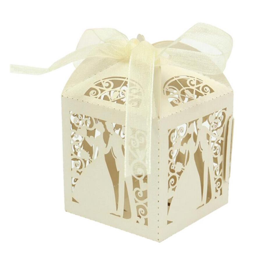 Geschenk doosjes / Cadeau doosjes - 100 stuks - Bruidspaar -  Beige / Crème-1