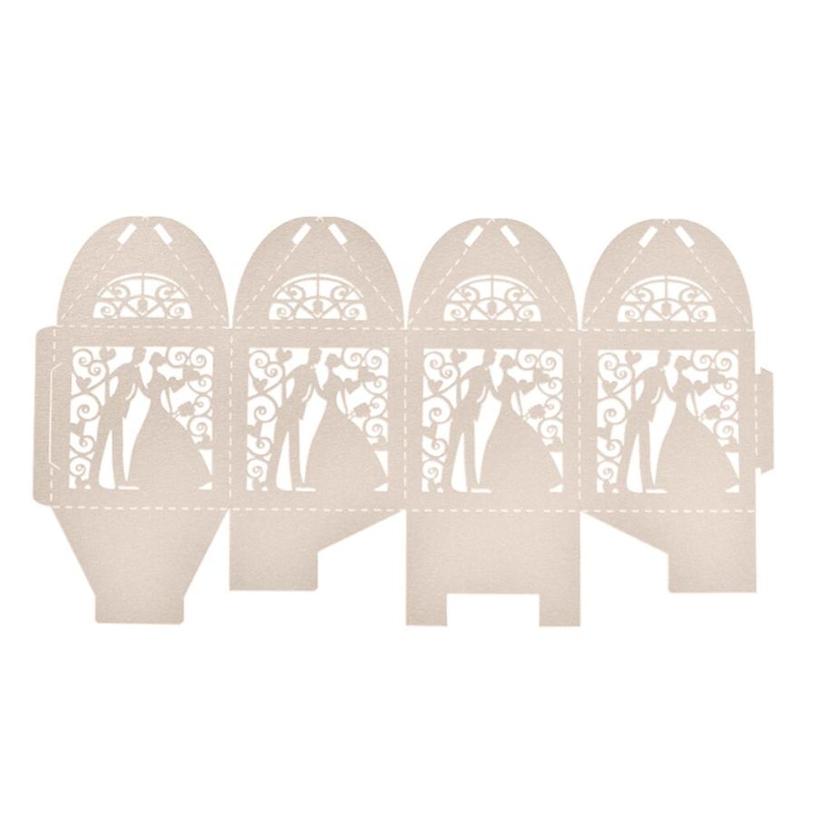 Geschenk doosjes / Cadeau doosjes - 100 stuks - Bruidspaar -  Beige / Crème-2
