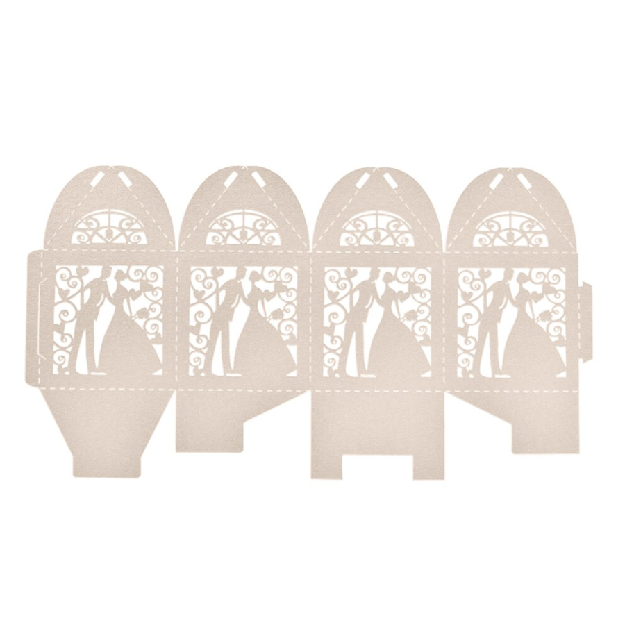 PaCaZa - Geschenk doosjes / Cadeau doosjes - 100 stuks - Bruidspaar - Beige / Crème-2