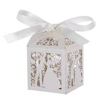 thumb-Geschenk doosjes / Cadeau doosjes - 100 stuks - Bruidspaar -  Wit-1