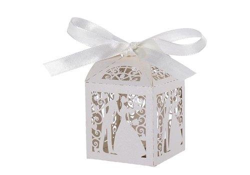 Geschenk doosjes / Cadeau doosjes - 100 stuks - Bruidspaar -  Wit