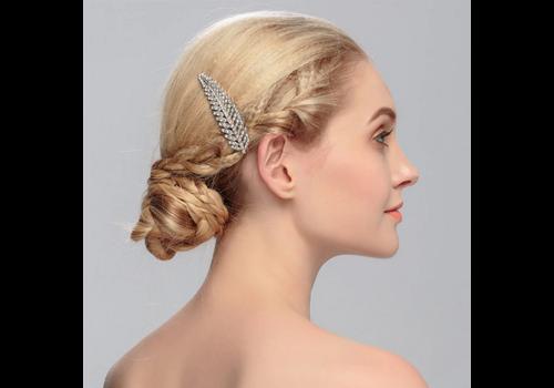 Chique Zilverkleurige Haarkam bezet met fonkelende Kristallen