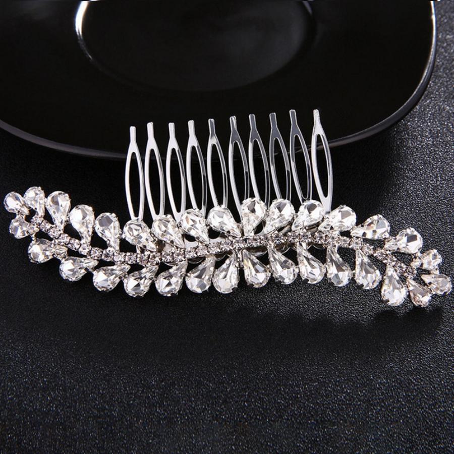Fonkelende Zilverkleurige Haarkam bezet met Kristallen-2