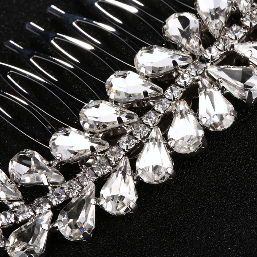 Fonkelende Zilverkleurige Haarkam bezet met Kristallen-3