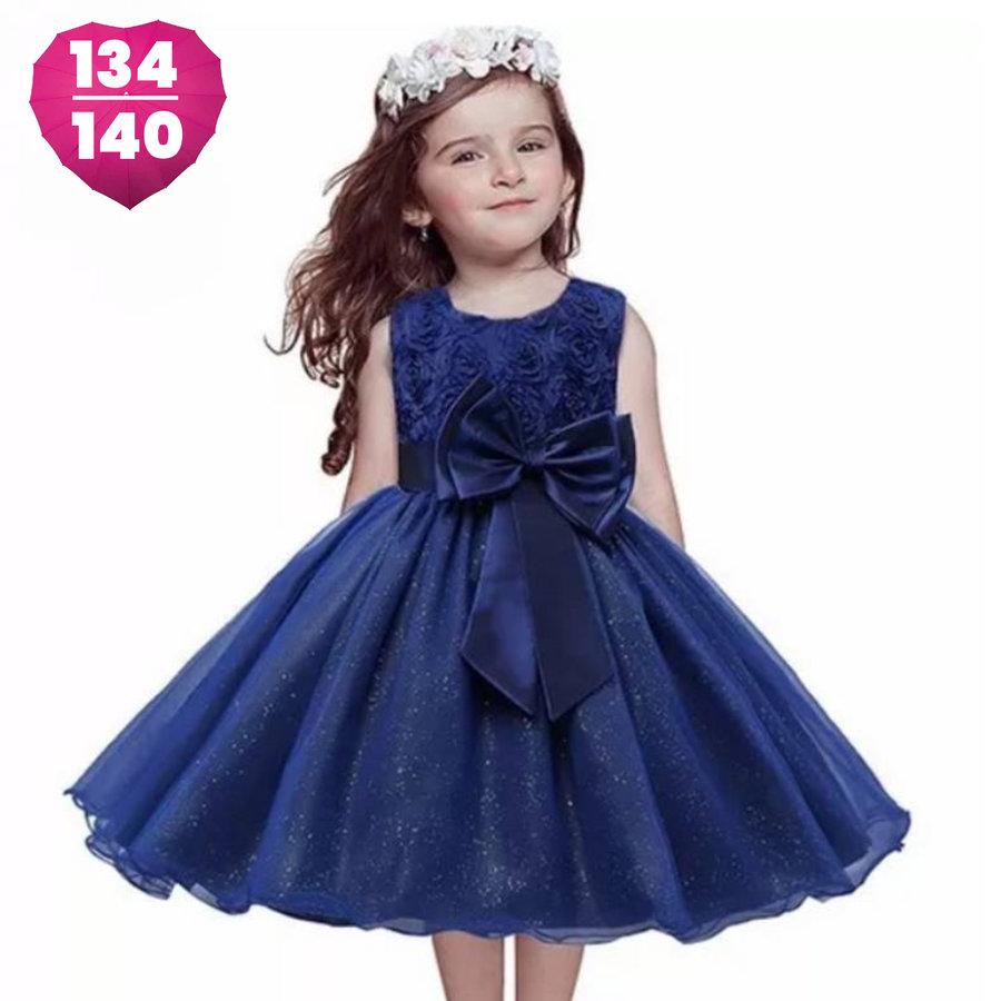 Communiejurk / Bruidsmeisjesjurk - Bibi - Donker Blauw - Maat 134/140-1