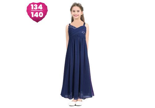 Communiejurk / Bruidsmeisjesjurk / Galajurk - Dena - Donker Blauw - Maat 134/140