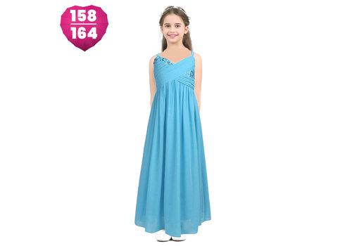 Communiejurk / Bruidsmeisjesjurk / Galajurk - Dunja - Aqua Blauw - Maat 158/164