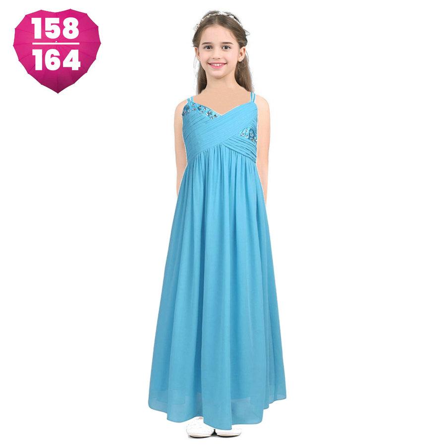 Communiejurk / Bruidsmeisjesjurk / Galajurk - Dunja - Aqua Blauw - Maat 158/164-1