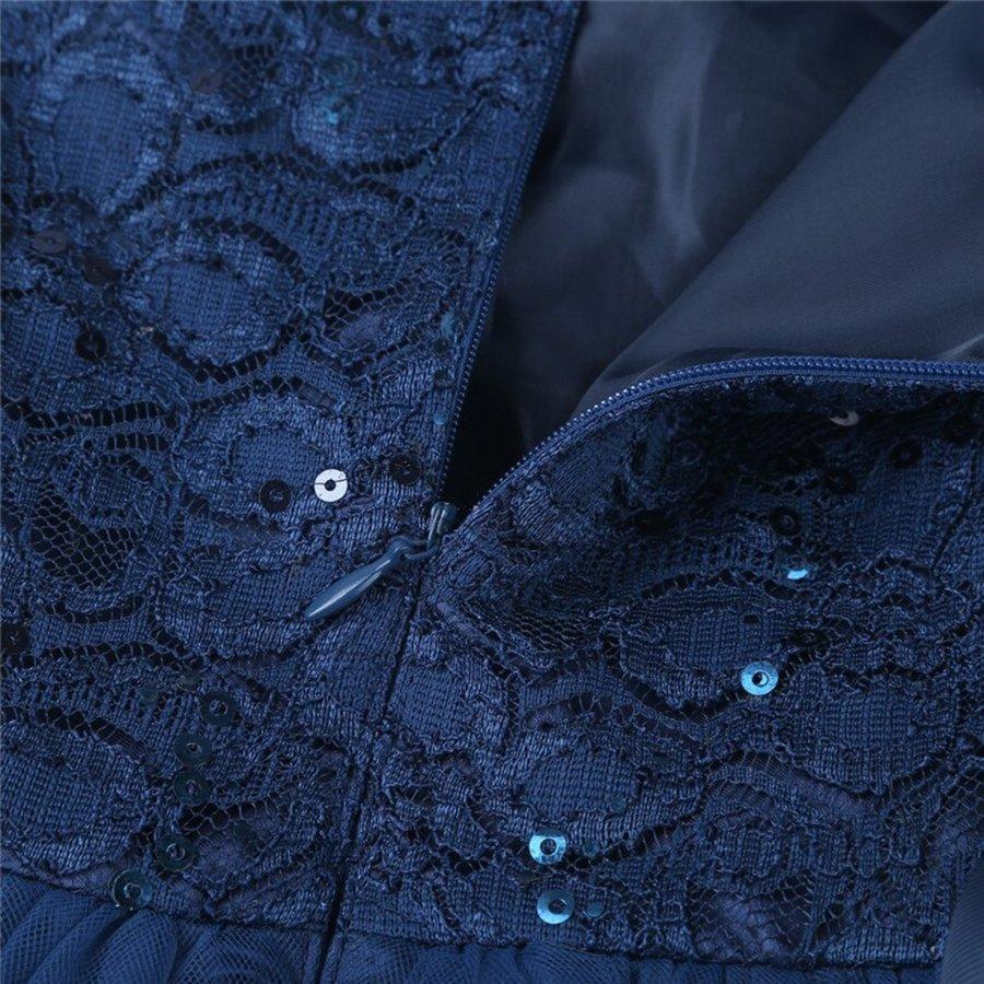 PaCaZa - Communiejurk / Bruidsmeisjesjurk - Lian - Donker Blauw - Maat 110/116-7