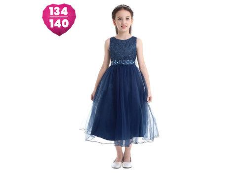 Communiejurk / Bruidsmeisjesjurk - Lian - Donker Blauw - Maat 134/140