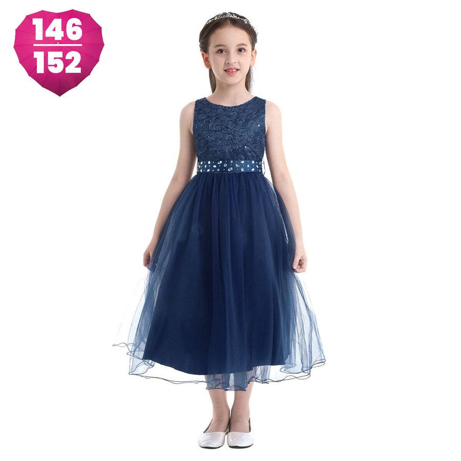 Communiejurk / Bruidsmeisjesjurk - Lian - Donker Blauw - Maat 146/152-1