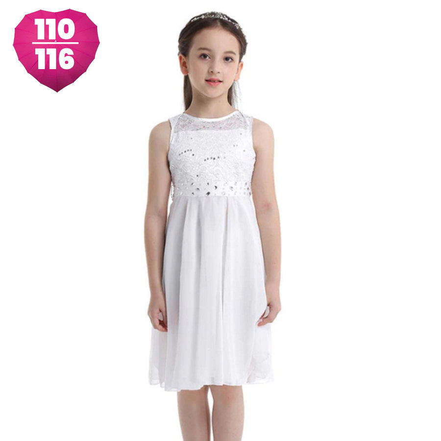Communiejurk / Bruidsmeisjesjurk - Yuna - Off White - Maat 110/116-1