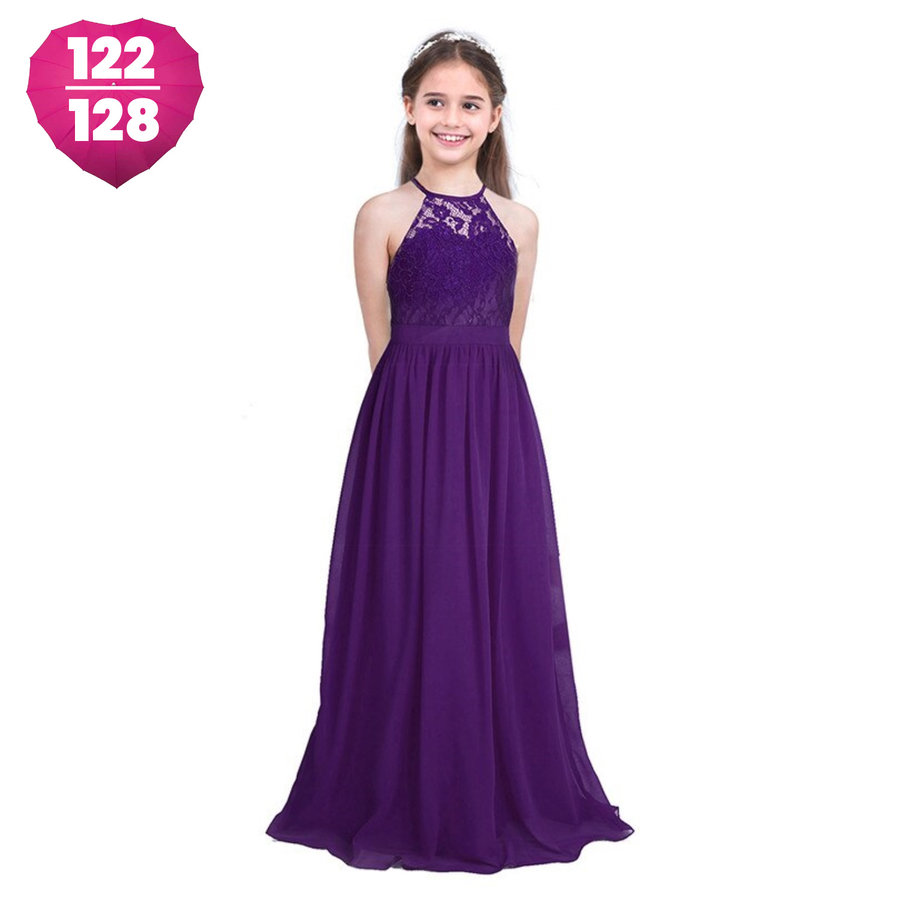 PaCaZa - Communiejurk / Bruidsmeisjesjurk / Galajurk - Mandy - Donker Paars - Maat 122/128-1
