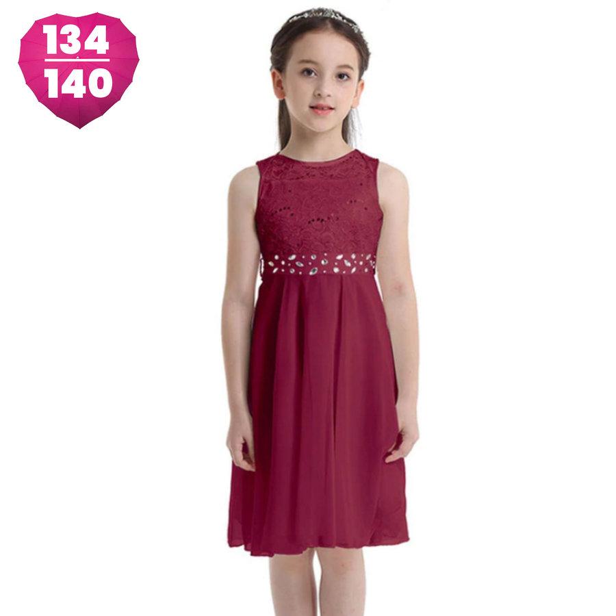 Communiejurk / Bruidsmeisjesjurk - Kira - Donker Rood - Maat 134/140-1