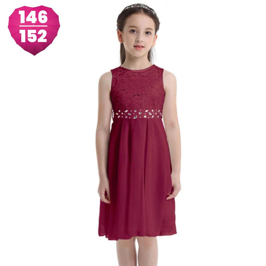 Communiejurk / Bruidsmeisjesjurk - Kira - Donker Rood - Maat 146/152-1