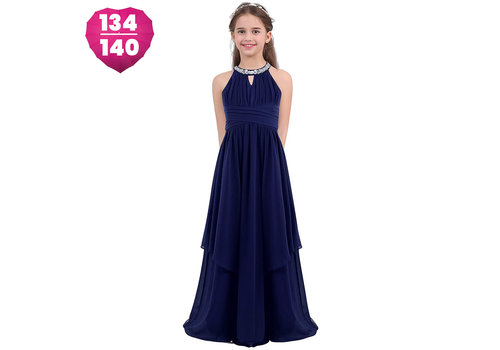 Communiejurk / Bruidsmeisjesjurk - Kensi - Donker Blauw - Maat 134/140