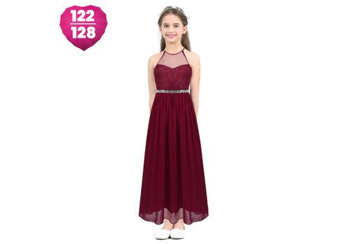 Communiejurk / Bruidsmeisjesjurk - Zoé - Donker Rood - Maat 122/128