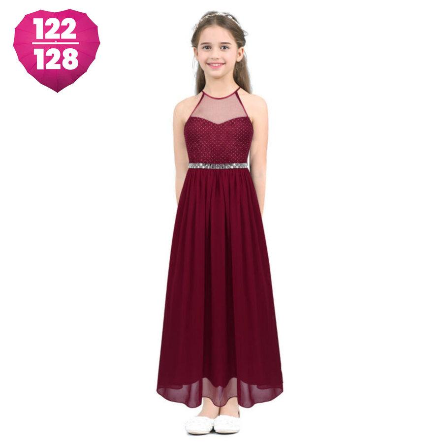 Communiejurk / Bruidsmeisjesjurk - Zoé - Donker Rood - Maat 122/128-1