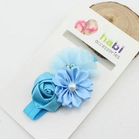 thumb-Haarband Flowers - Licht Blauw-1