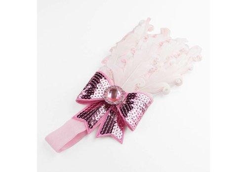 Haarband Veer met Strik- Licht Roze
