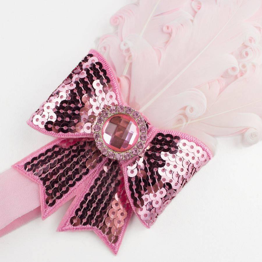 Haarband Veer met Strik- Licht Roze-2
