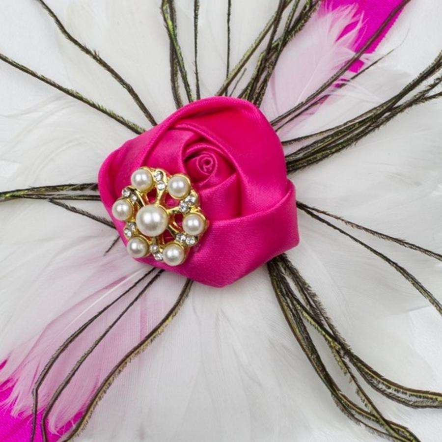 Haarband Flower & Feather Wit / Roze-2