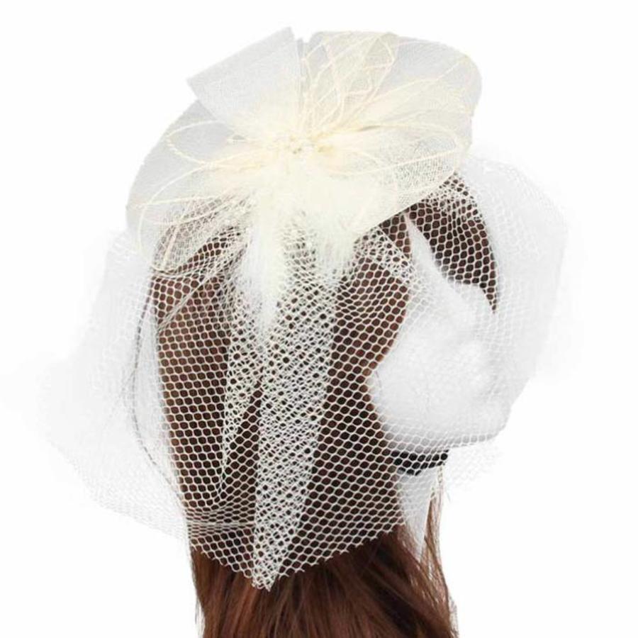 Chique Fascinator / Birdcage Veil - Ivoor-1