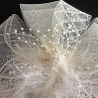 thumb-Chique Fascinator / Birdcage Veil - Ivoor-2