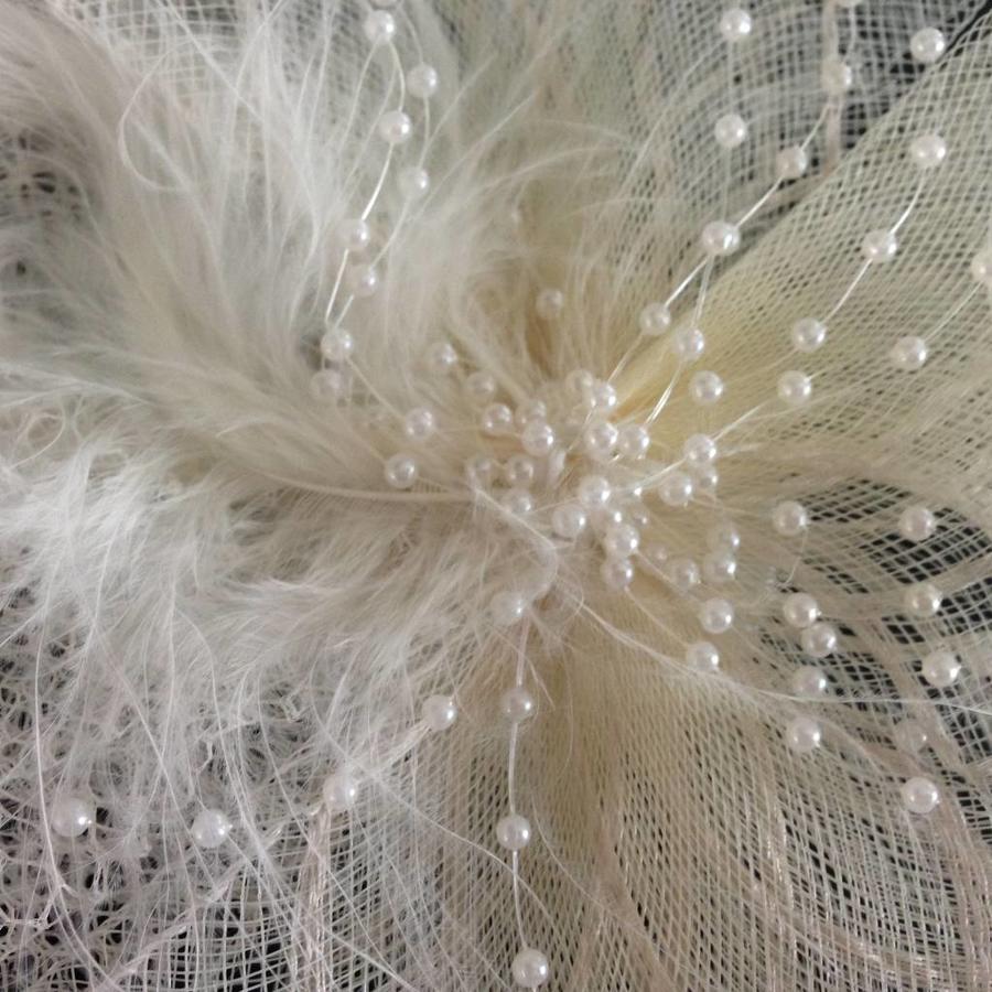 Chique Fascinator / Birdcage Veil - Ivoor-3