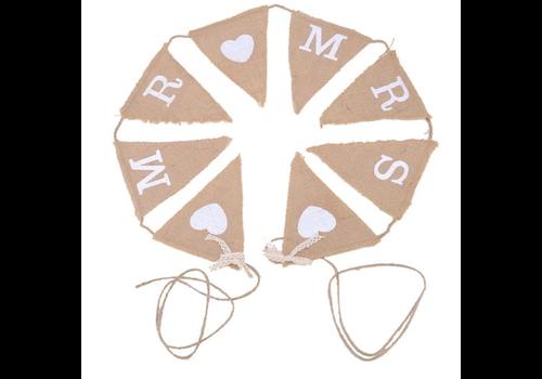 Mr & Mrs Jute Slinger - Bruiloft Decoratie