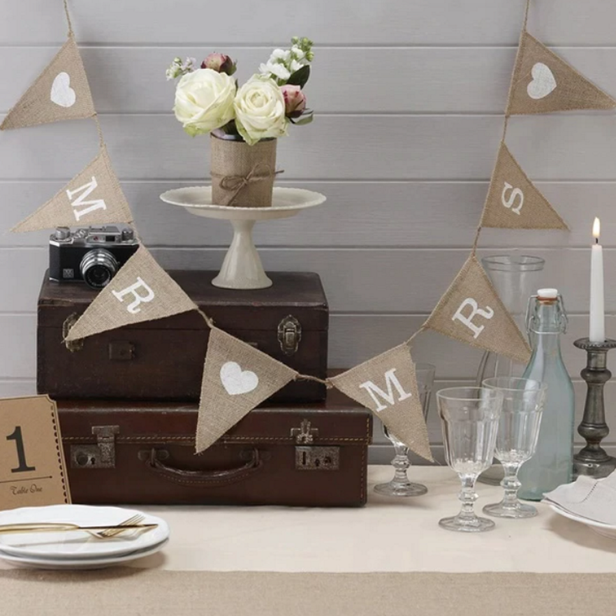Mr & Mrs Jute Slinger - Bruiloft Decoratie-2