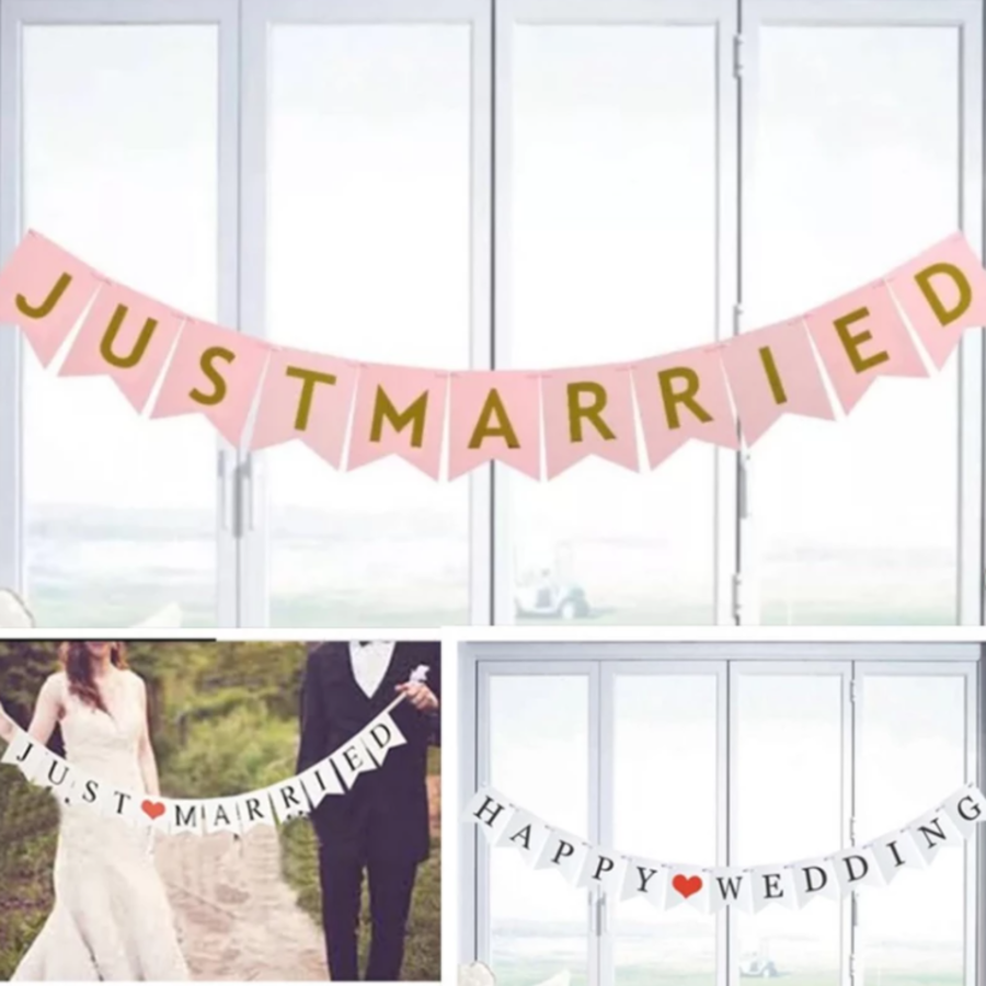 JUST MARRIED Slinger - Roze en Goud - Bruiloft Decoratie-2