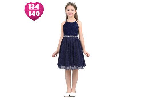Communiejurk / Bruidsmeisjesjurk - Nina- Donker Blauw - Maat 134/140