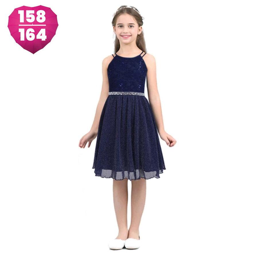 Communiejurk / Bruidsmeisjesjurk - Nina- Donker Blauw - Maat 158/164-1