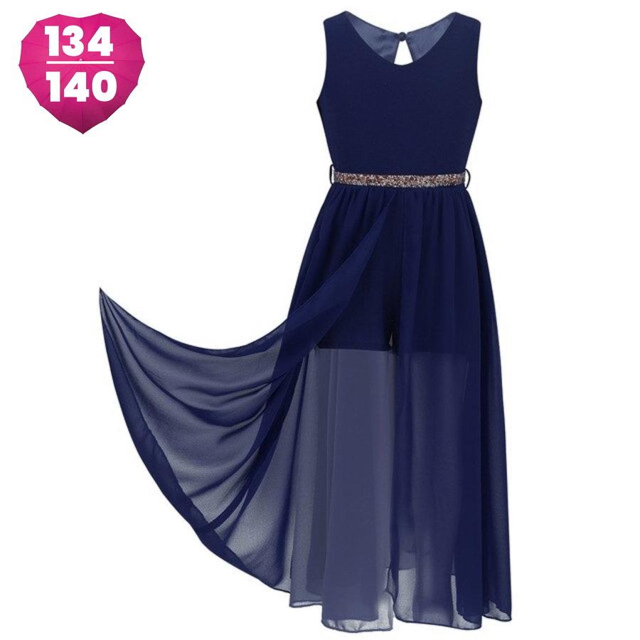 Communiejurk / Bruidsmeisjesjurk - Ruby - Donker Blauw - Maat 134/140-1