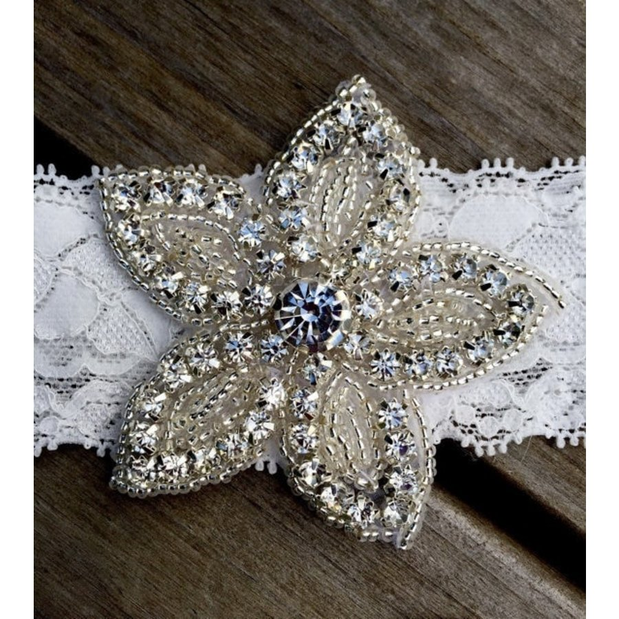 Haar Sieraad / Haarband Bloem met Fonkelende Kristallen  en Witte Band-2