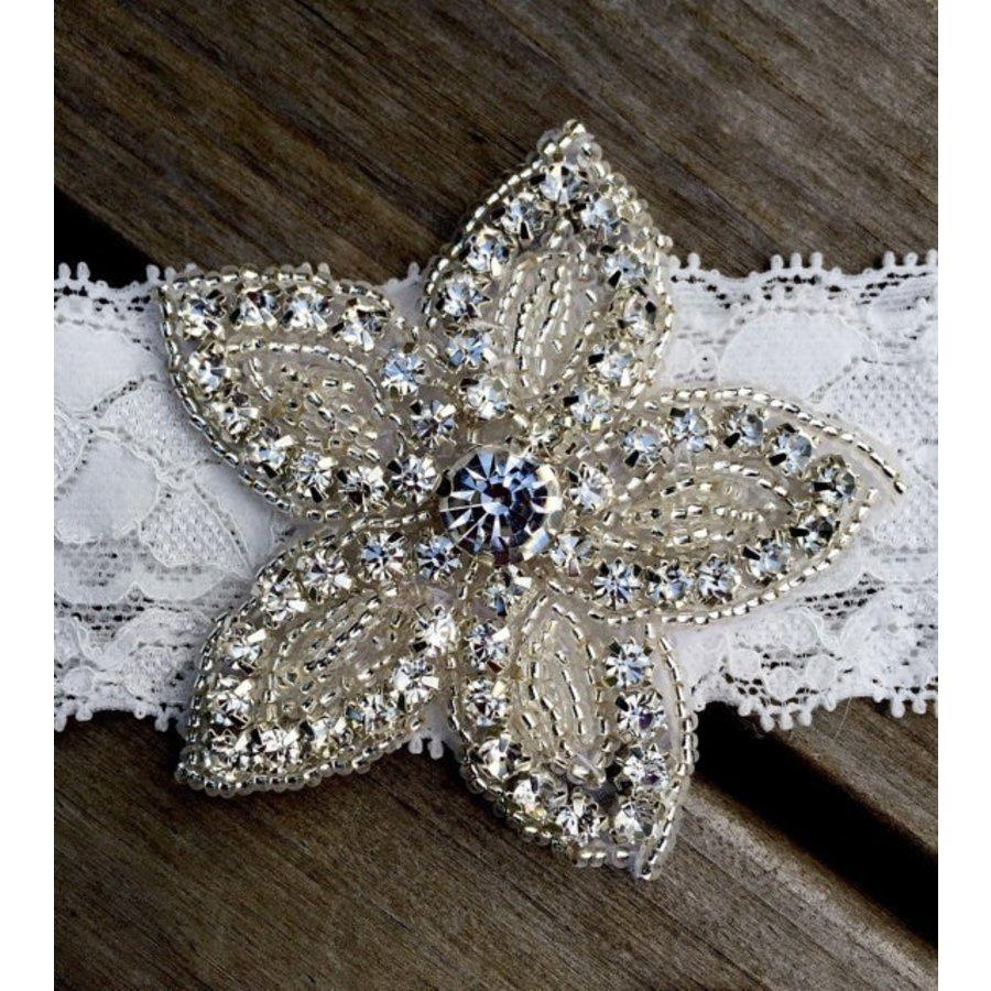 PaCaZa - Haar Sieraad / Haarband Bloem met Fonkelende Kristallen en Witte Band-2