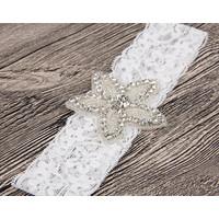 thumb-Haar Sieraad / Haarband Bloem met Fonkelende Kristallen  en Witte Band-3