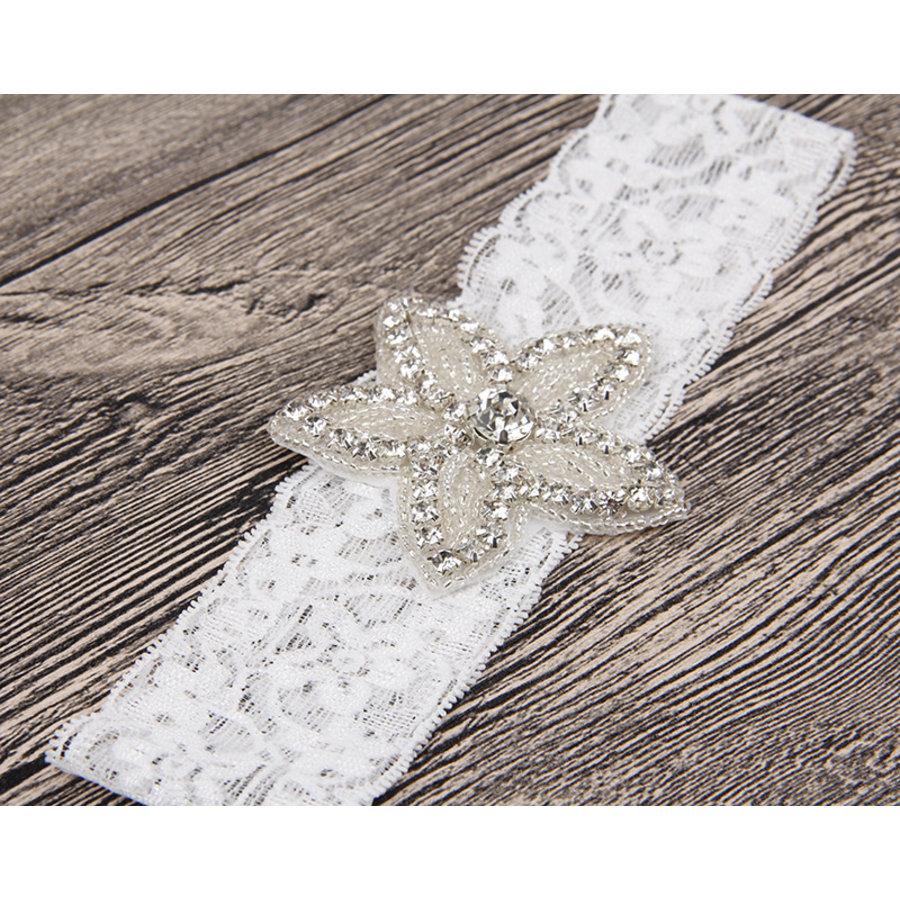 Haar Sieraad / Haarband Bloem met Fonkelende Kristallen  en Witte Band-3
