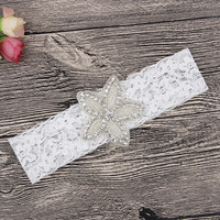 thumb-PaCaZa - Haar Sieraad / Haarband Bloem met Fonkelende Kristallen en Witte Band-1