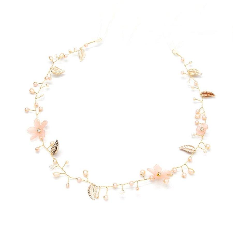 Elegant Goud kleurig Haar Sieraad met Parels, Zacht Roze Bloemen en Blaadjes-1