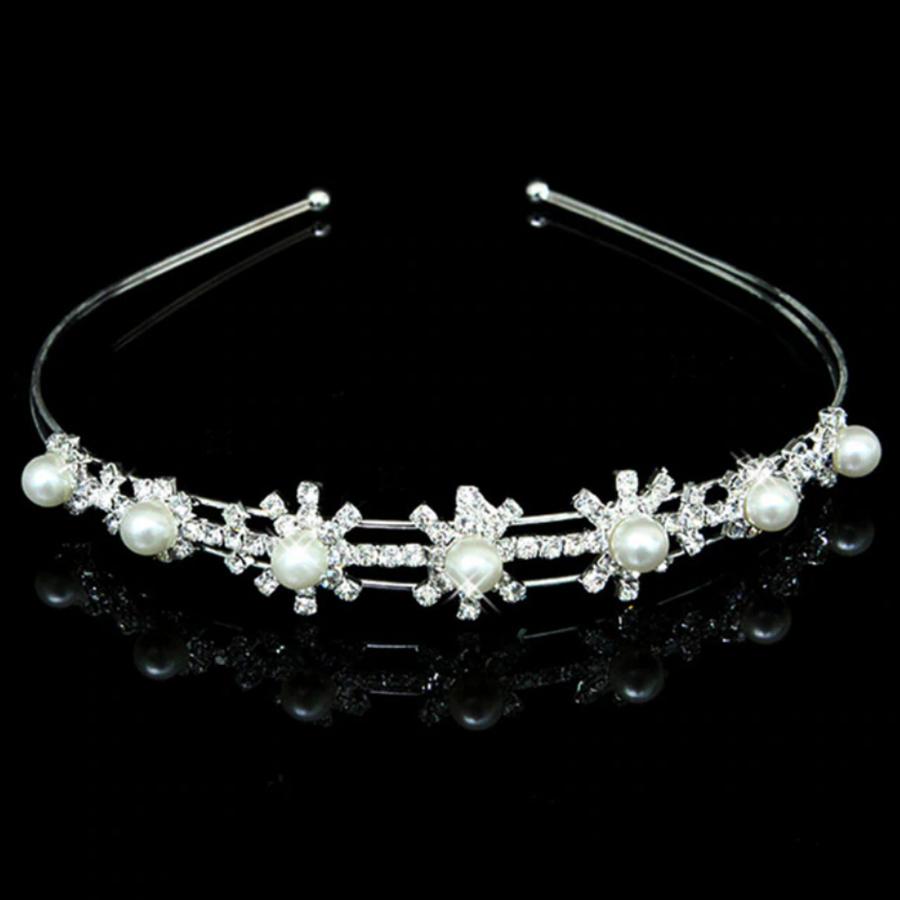Tiara Flower met Ivoorkleurige Parels en Kristallen-1
