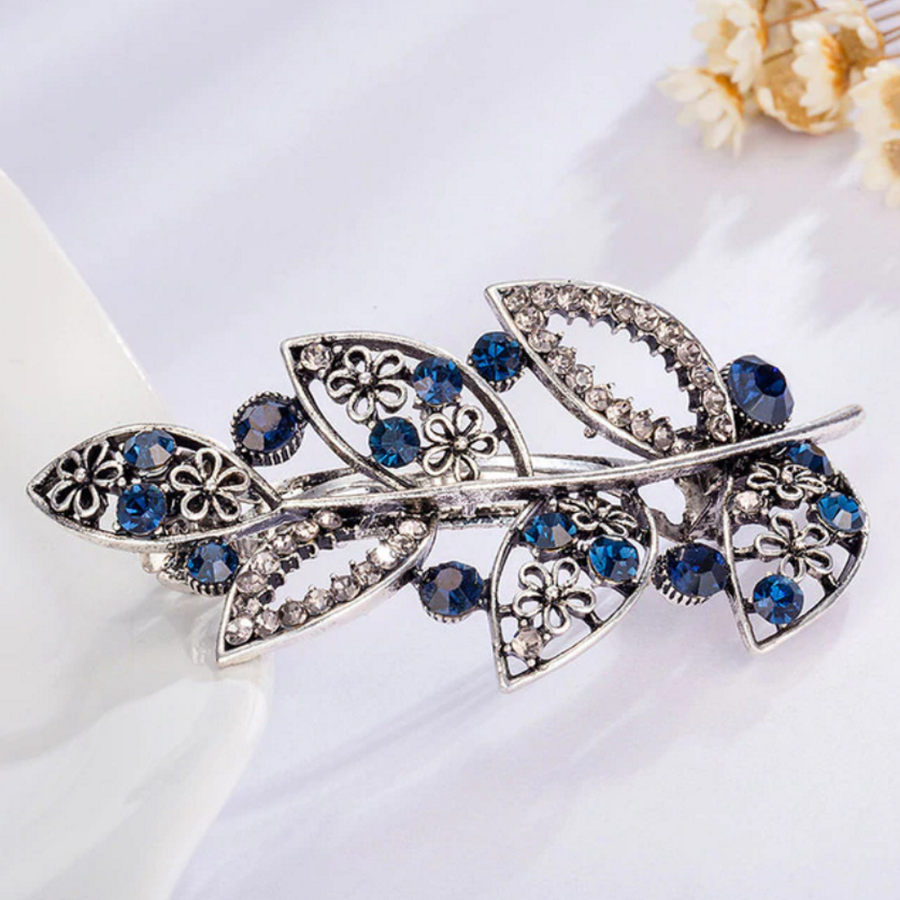 Chique Haarclip - Leaves - Donker Blauw-1