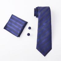thumb-Elegante Stropdas Set in Geschenkdoos - inclusief Manchetknopen, Pochet en Dasspeld - D02 - Blauw met Glittertje-1
