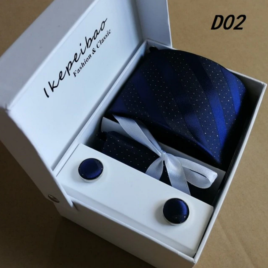 Elegante Stropdas Set in Geschenkdoos - inclusief Manchetknopen, Pochet en Dasspeld - D02 - Blauw met Glittertje-2