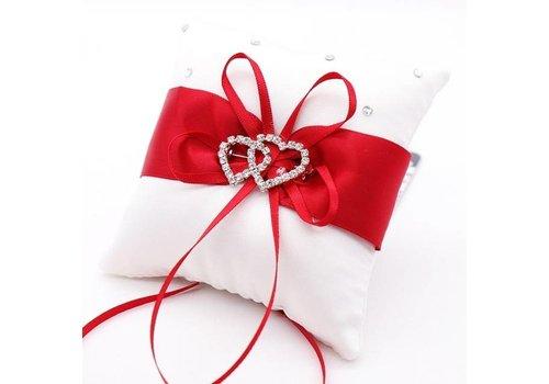 Grote Ringkussen - Wit met Rood & Fonkelende Hartjes