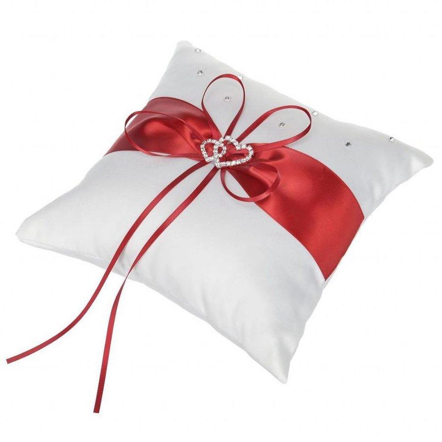 Grote Ringkussen - Wit met Rood & Fonkelende Hartjes-2