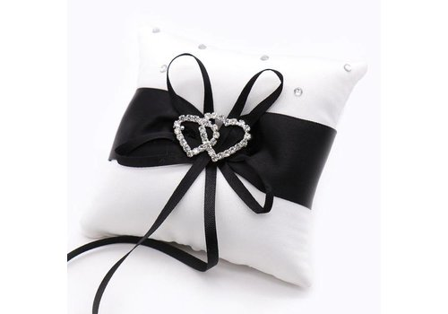 Grote Ringkussen- Wit - Zwart met fonkelende Hartjes