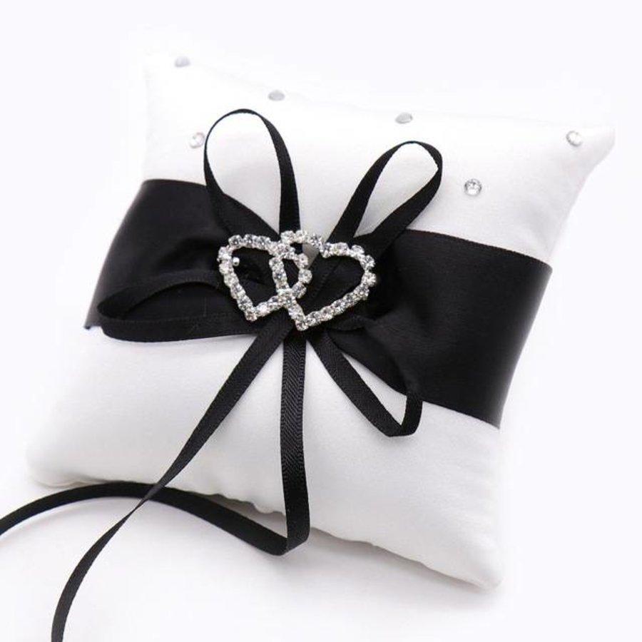 Grote Ringkussen- Wit - Zwart met fonkelende Hartjes-1