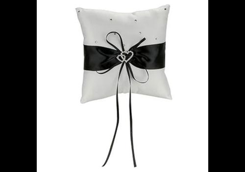 Ringkussentje - Wit - Zwart met fonkelende Hartjes